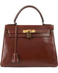"Hermès Hermes C.1964 ""kelly"" 28 Cm Box Calf Leather Top Handle Purse - Brown"