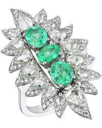 Monan 18 Karat Gold 1.74 Carat Paraiba And 3.37 Carat Diamond Ring - White
