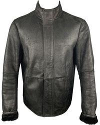 Jil Sander Size 42 Shearling Leather High Collar Zip Up Jacket - Black