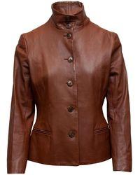 Ralph Lauren Black Label Ralph Lauren Label Brown Leather Jacket - Black