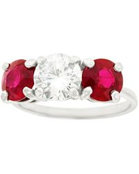 Cartier Diamond And Ruby Set Platinum Engagement Ring Gia - Multicolor