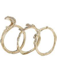 Bibi Van Der Velden Wave Stackable Rings - Metallic