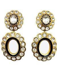 Dior Vintage Gold & Crystal Double Hoop Statement Earrings 1980s - Metallic