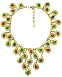 Dior Vintage Mughal Inspired Statement Jeweled Bib Necklace 1980s - Multicolor