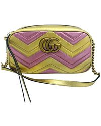 Gucci - Womens Designer Gg Marmont Bag Leather Pink/gold - Lyst