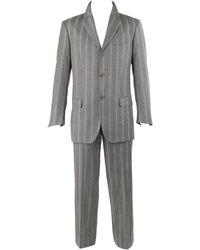 Alexander McQueen C.2001 2 Pc Gray & Pinstripe Wool Jacket Pant Suit Set - Red