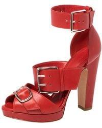 Alexander McQueen - Leather Buckle Strappy Platform Sandals Size 41 - Lyst