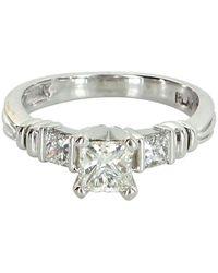 Scott Kay Three-stone Diamond Platinum Engagement Ring Pre Owned Jewelry - Metallic