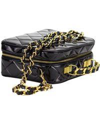 Chanel Vintage Quilted Patent Vanity Shoulder Crossbody Quilted Tote Bag - Black