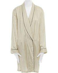 Dries Van Noten Beige Striped Shawl Collar Pajama Kimono Robe Jacket M Us6 Uk10 - Brown