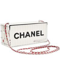 Chanel Runway Container Clutch/ Shoulder Bag Karl Lagerfeld New - Natural
