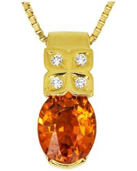 Tasaki 2.59 Carat Spessartine Garnet Diamond 18 Karat Gold Pendant Necklace - Metallic