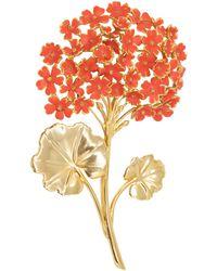 Oscar de la Renta Gold Painted Cayenne Geranium Bouquet Pin Brooch - Orange