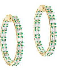Goshwara Inside-outside Emerald And Diamond Hoop Earrings - Green
