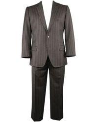 Dolce & Gabbana 42 Regular Charcoal Pinstripe Wool Notch Lapel Suit - Black