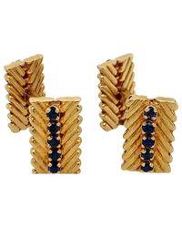 Van Cleef & Arpels Gold Sapphire Cufflinks - Blue