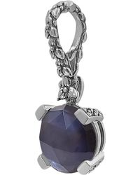 Stephen Dweck Mother Of Pearl, Hematite Faceted Triangle Gemstone Pendant - Blue