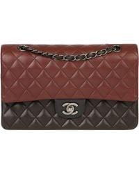 Chanel Burgundy, & Khaki Lambskin Medium Classic Double Flap Bag - Black