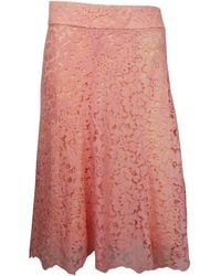 Monique Lhuillier Pink Coral Lace Skirt - Red