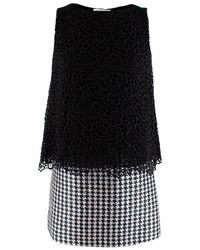 Viktor & Rolf Sleeveless Houndstooth & Lace Layered Dress - Size Us 2 - Black