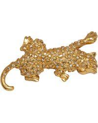 Oscar de la Renta Swarovski Crystal Leopard Brooch Pin, Gold Tone - Metallic