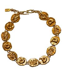 Saint Laurent - Gilt Hammered Link Necklace With Shell Detail - Lyst