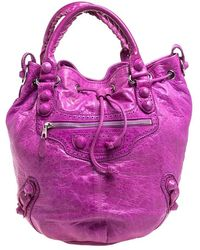 Balenciaga Bubble Gum Leather Gsh Pompon Hobo - Purple