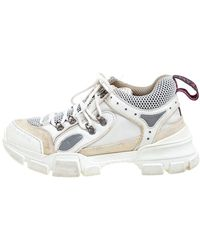 Gucci Leather, Suede, And Mesh Logo Embossed Flashtrek Sneakers Size 38 - White