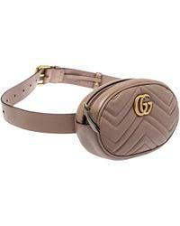 Gucci Beige Matelasse Leather Gg Marmont Belt Bag - Brown