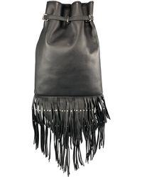 Roberto Cavalli Leather Studded Fring Bucket Backpack - Black