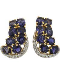 Seaman Schepps Iolite Diamond Gold Earrings - Multicolor