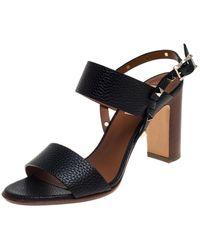 Valentino Garavani Leather Rockstud Open Toe Slingback Sandals Size 38 - Black
