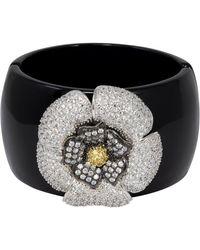 Kenneth Jay Lane Cz Kjl Cubic Zirconia By Pave Crystal Flower Bangle Bracelet - Multicolor