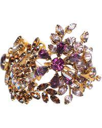 Tom Binns Swarovski Crystal Floral Garden Cuff Bracelet Unsigned - Multicolor