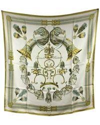 Hermès Hermes Vintage Silk Scarf Panache Et Fantasie 1959 Hugo Grygkar - Natural