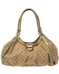 Gucci Beige/gold Gg Canvas And Leather Large D Ring Shoulder Bag - Brown