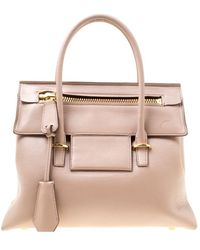 Tom Ford Beige Leather Icon Top Handle Bag - Brown