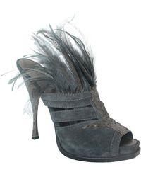 Donna Karan Collection Charcoal Suede, Snake Skin, & Feather Slide Heels - 41 - Black