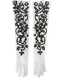 Dolce & Gabbana 2000s Crystal Leather Elbow Gloves - White