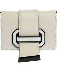 Prada - White/black Leather Plex Ribbon Shoulder Bag - Lyst