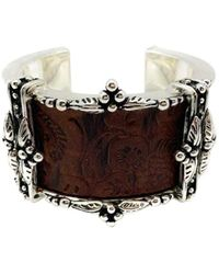 Dior Vintage Dior Statement Silver Tooled Leather Arc Style Cuff 1990s - Metallic