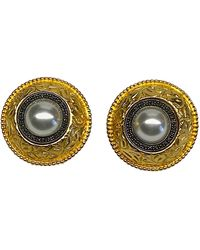 Judith Jack 1980s Gold With Sterling Silver Large Button Earrings - Metallic