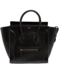 Celine Astrakhan Embossed Leather Mini Luggage Tote - Black