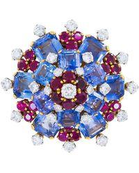 BVLGARI Bulgari Diamond Sapphire Ruby Gold Platinum Brooch - Yellow