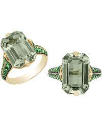 Goshwara Emerald Cut Prasiolite And Tsavorite Ring - Green
