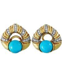 Antonini 18 Karat Gold 0.42 Carat Diamond And Turquoise Earrings - Yellow