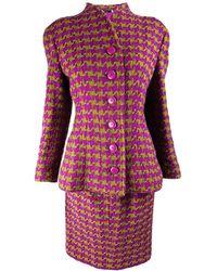 Valentino Vintage Fuchsia & Wool Skirt Suit - Green