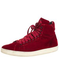 Tom Ford Velvet Russell High Top Sneakers Size 46 - Red