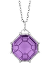 Goshwara Octagon Amethyst And Diamond Pendant - Purple