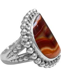 Stephen Dweck Granulated Bead Setting Natural Agate Ring - Red
